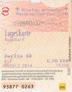 תחבורה ציבורית בברלין - כרטיס יומי